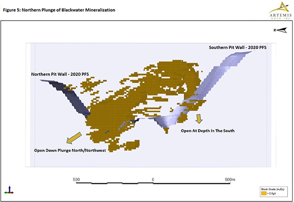 Figure 5 - Northern Plunge of Blackwater Mineralization